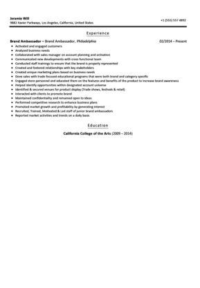 Brand Ambassador Resume Sample | Velvet Jobs