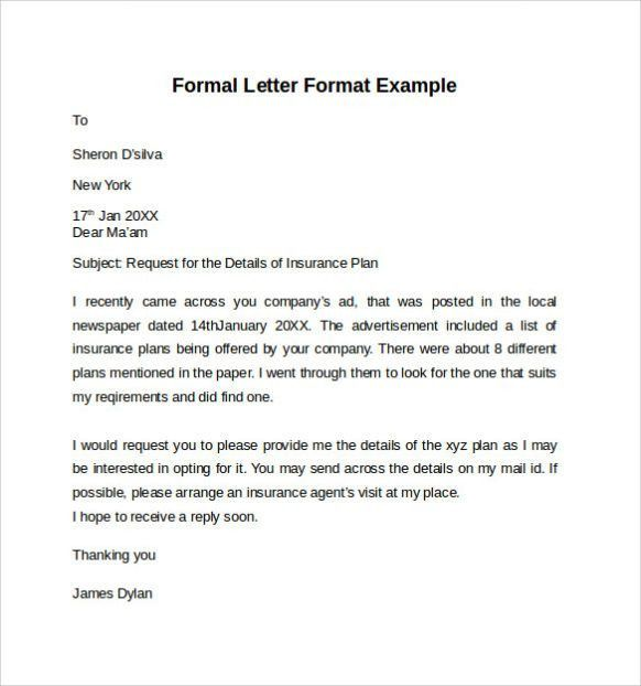Formal Letter Format Sample Template | Calendar Template Letter ...