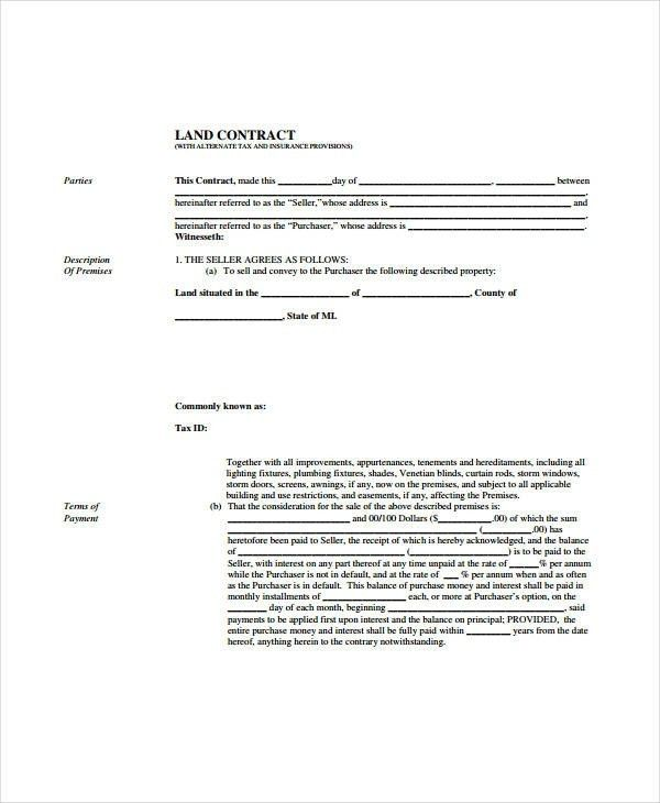 Free Printable Land Contract Forms | shareitdownloadpc