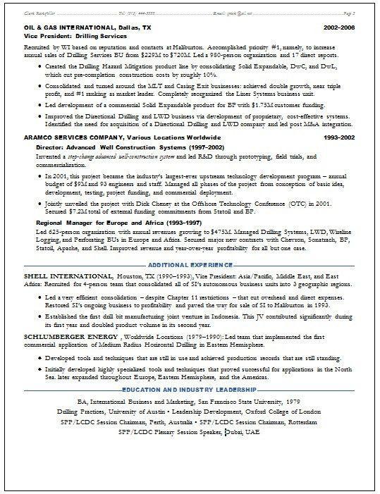 Resume Samples Oil & Gas Upstream E&P -