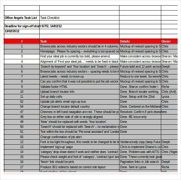 Task Checklist Template – 8+ Free Word, Excel, PDF Documents ...