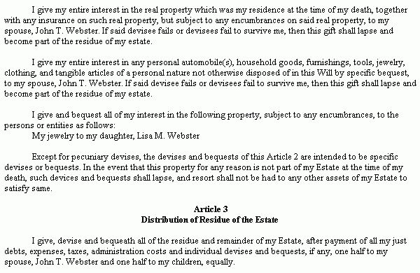 Example Document for Last Will & Testament