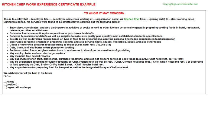 Kitchen Chef Work Experience Certificate