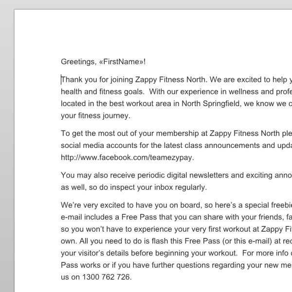 Email templates for gyms and writing advice