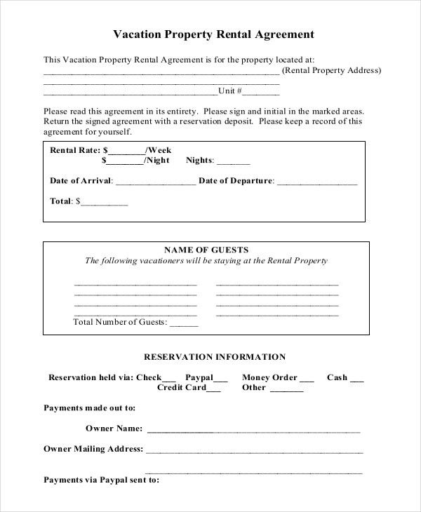Vacation Rental Agreement – 8+ Free Word, PDF Documents Download ...