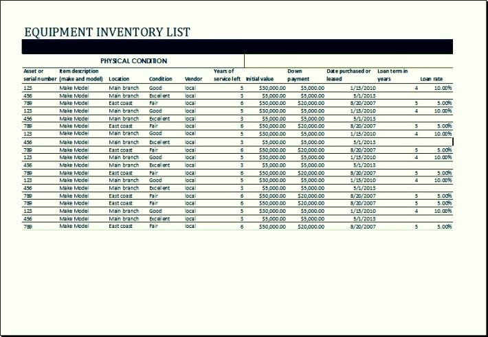 Sample Food Inventory List Template Excel | TemplateZet