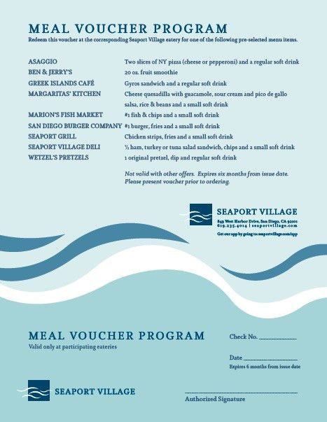 7 Free Sample Meal Voucher Templates – Printable Samples