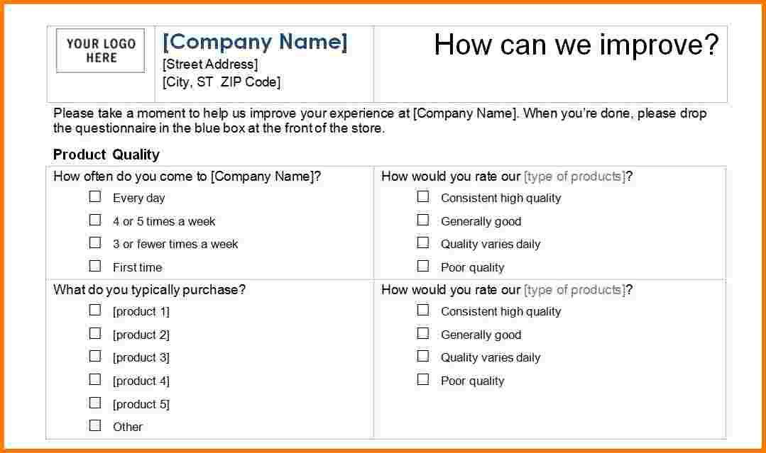 7 excel survey template | Receipt Templates