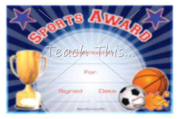 Sports Award - Printable Classroom Student Awards and Certificates ...