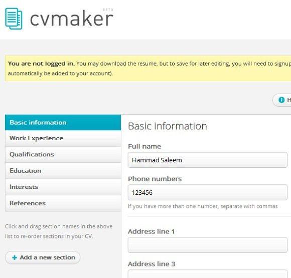 easy online resume