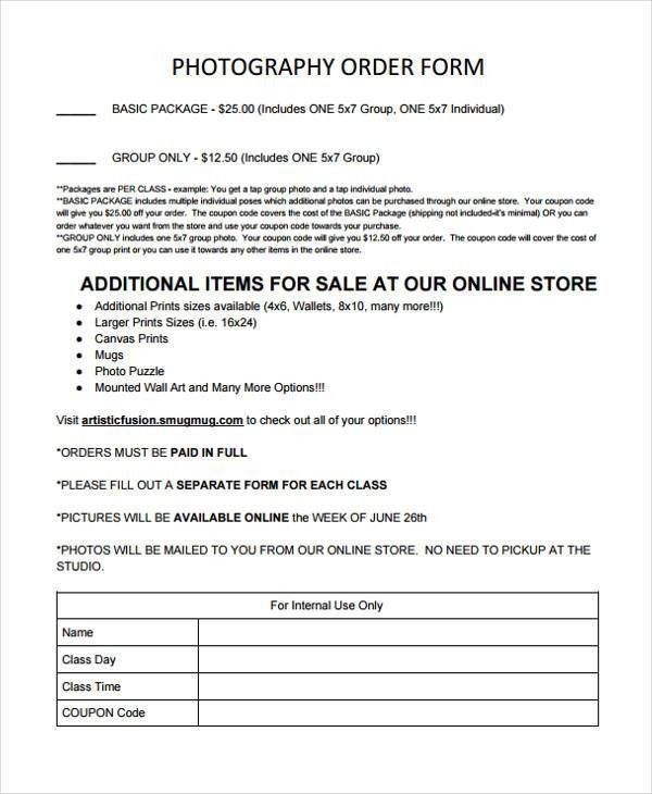 Photography Order Form. A Message To Squijoo Members Photography ...