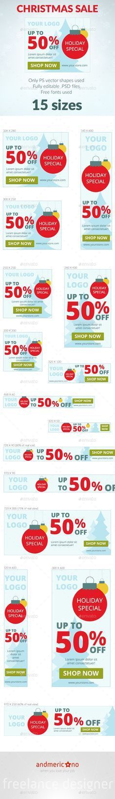 Holiday Sale Web Banners Template PSD | Buy and Download: http ...
