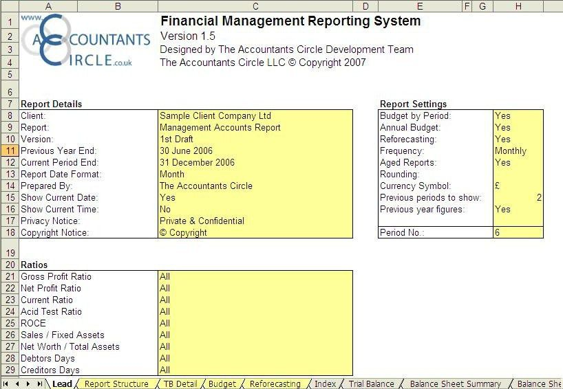 Financial Management Reporting System - Excel templates for ...