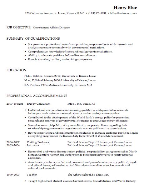 Resume for a Government Affairs Director - Susan Ireland Resumes