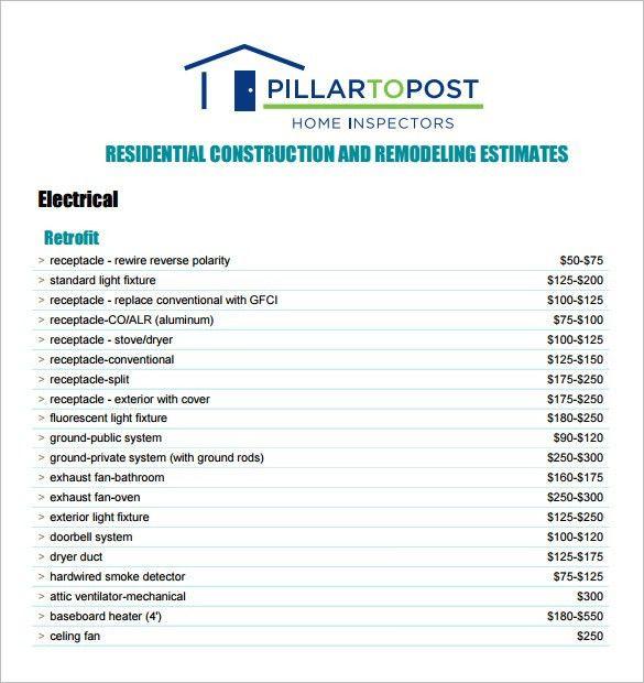 6+ Contractor Estimate Templates – Free Word, Excel & PDF ...