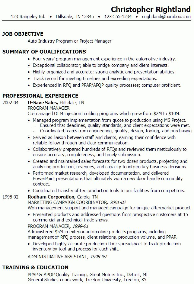 8 Program Manager Resumes Resume program manager resume for ...