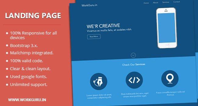Free Download Responsive Landing Page Template - Work Guru