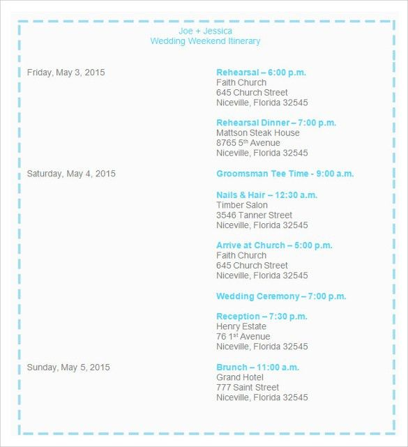 Sample Wedding Weekend Itinerary Template - 12+ Documents in PDF ...