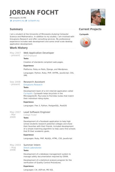 Web Application Developer Resume samples - VisualCV resume samples ...