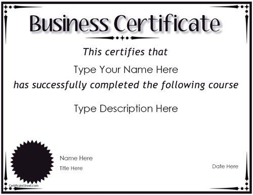 Business Certificate - Award for Completion | CertificateStreet ...