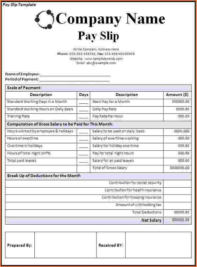 8+ downloadable payslip template | Simple salary slip