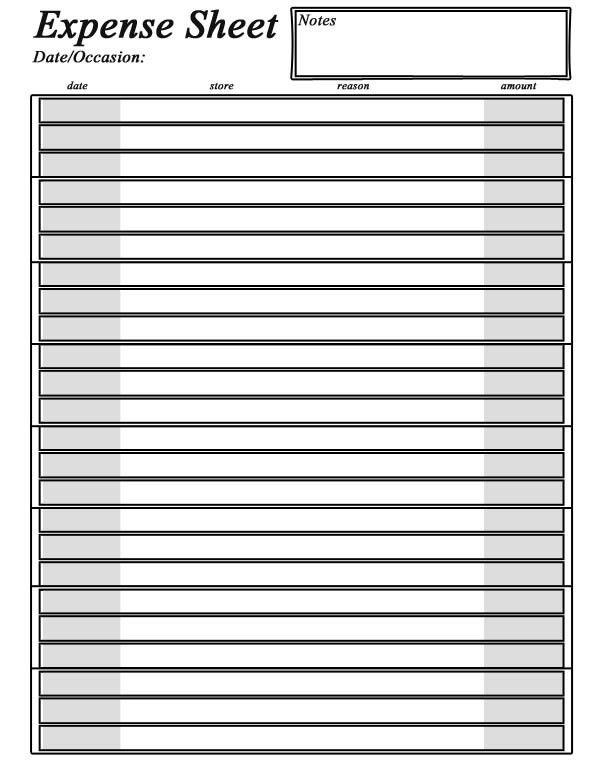 Organizing 2014: Simple Expense Sheet