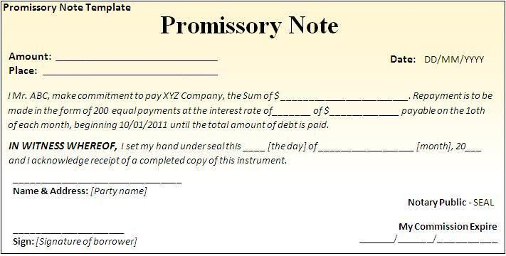 Promissory Note Template - Word Excel PDF