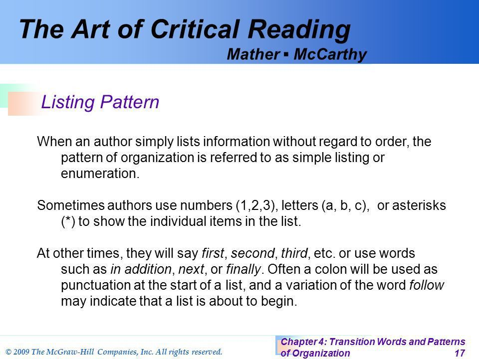 Discovering Meaning Through Structure Chapter 4 Transition Words ...