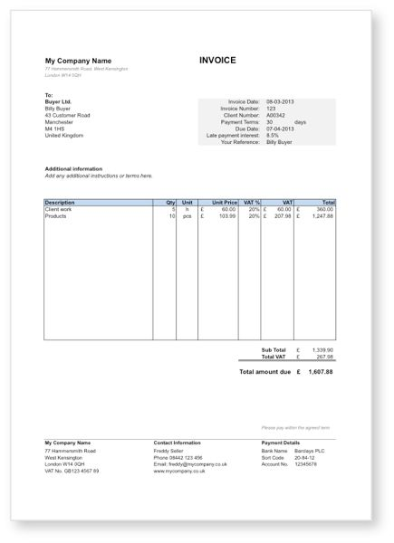 Vat Invoice Template Uk | invoice example