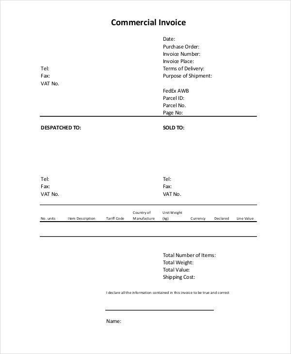 Commercial Invoice - 10+ Free PDF, Word Documents Download | Free ...