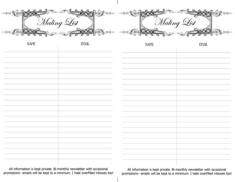 Free printable mailing list sign up sheet. | Craft and Jewelry ...
