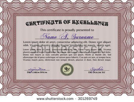 Certificate Achievement Template Red Border Red Stock Vector ...