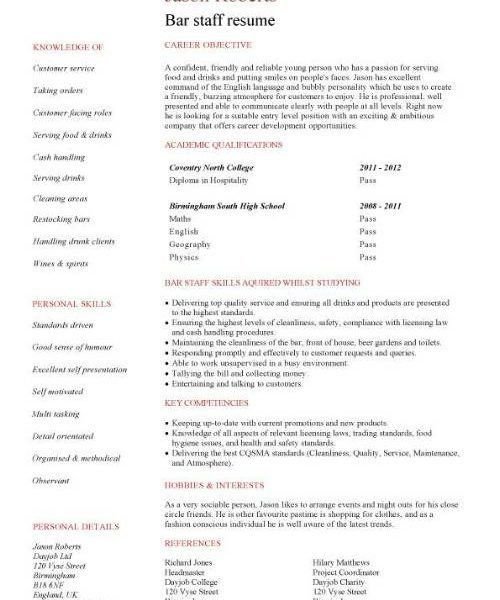 bar work cv example