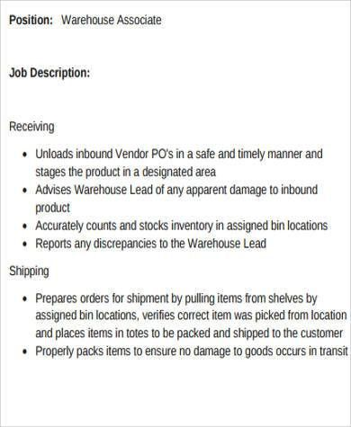 warehouse associate job description 2 10 typical job description