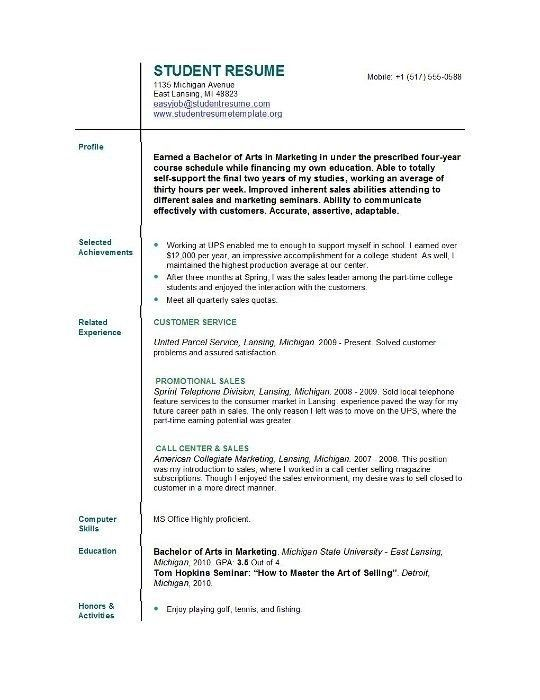 Example Of College Resume. Sample College Resume College ...