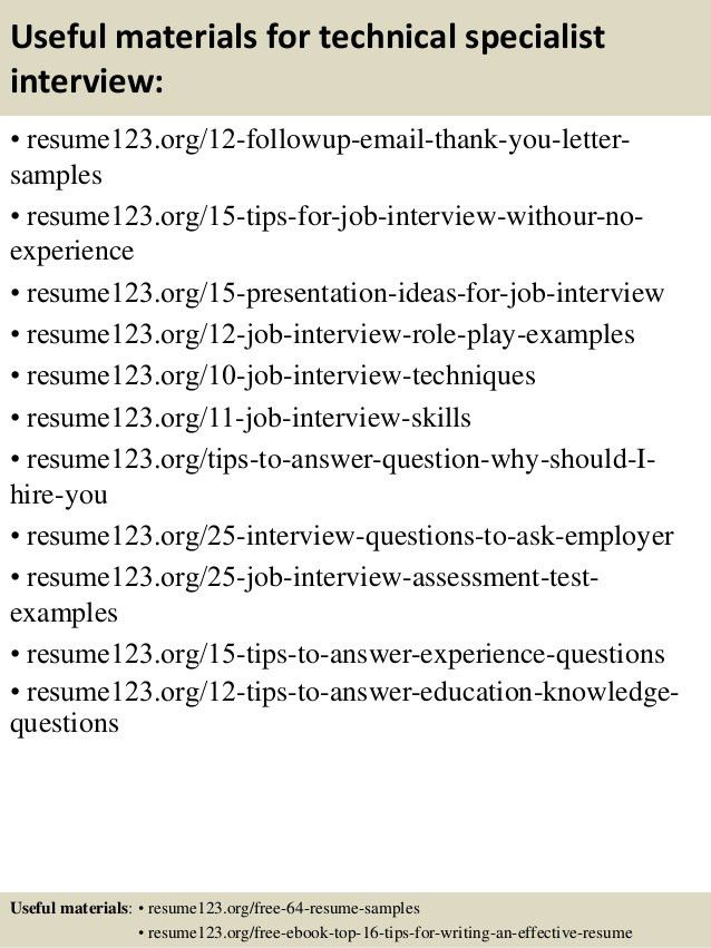 Top 8 technical specialist resume samples