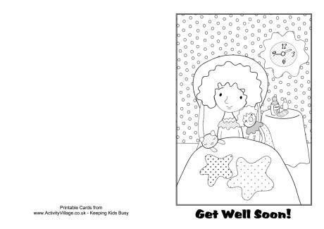 Get Well Soon Colouring Card 1