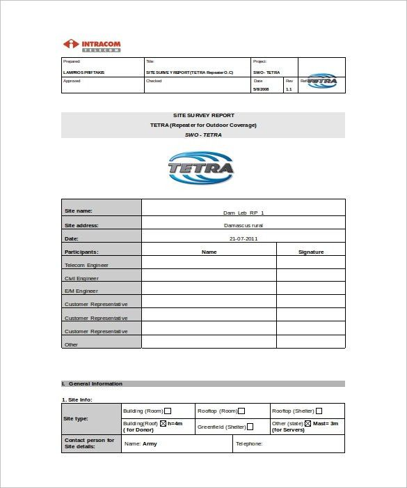 Sample Site Survey Template   8+ Free Documents In Word, PDF