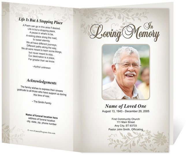 46 best funeral programs images on Pinterest | Program template ...