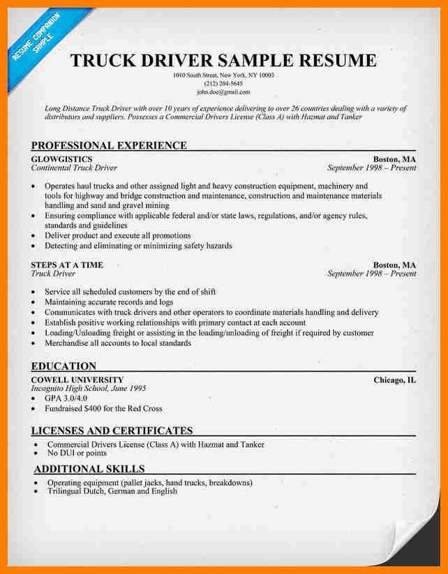 5+ truck driver resume example | sephora resume