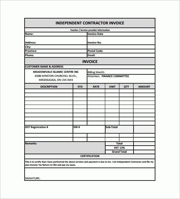 Contractor Receipt Template – 10+ Free Word, Excel, PDF Format ...