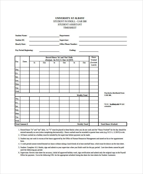 Sample Time-Sheet Template - 21+ Free Documents Download in PDF ...