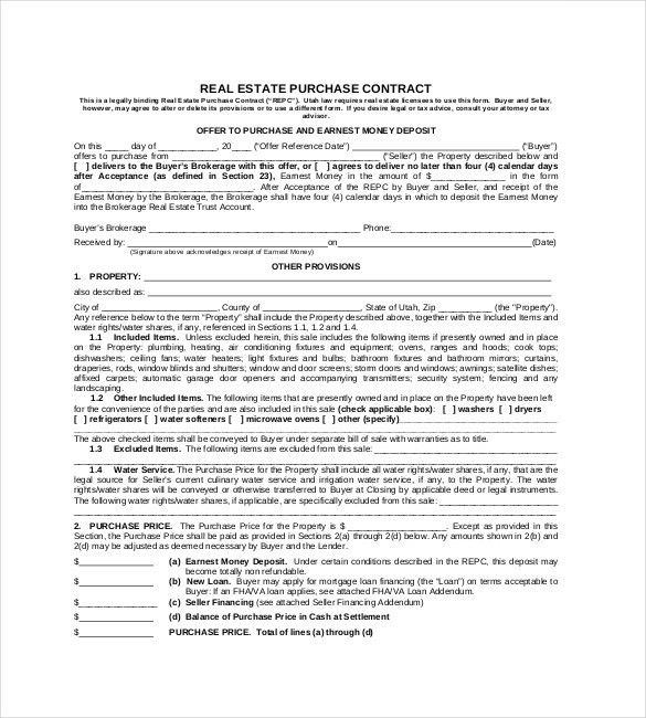 REAL ESTATE PURCHASE CONTRACT Format , 23+ Simple Contract ...
