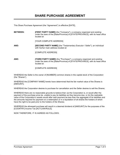 Share Purchase Agreement Deemed Dividend - Template & Sample Form ...