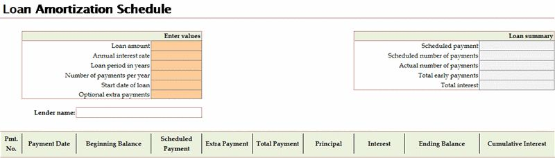 Loan amortization schedule - Office Templates