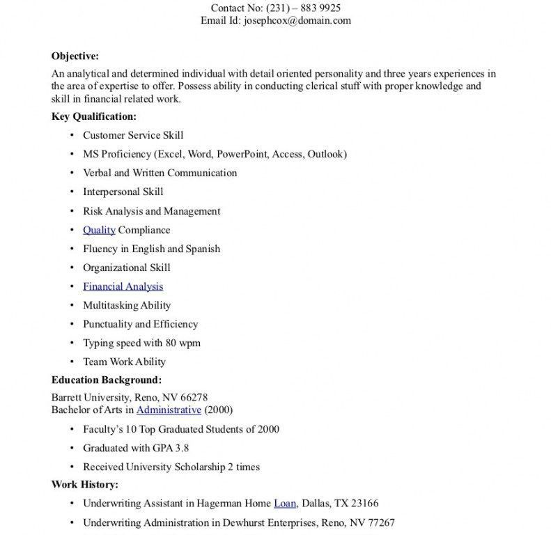 Commercial Underwriter Resume Sample - Contegri.com
