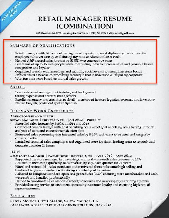 Resume Samples Qualification Highlights | Professional resumes ...