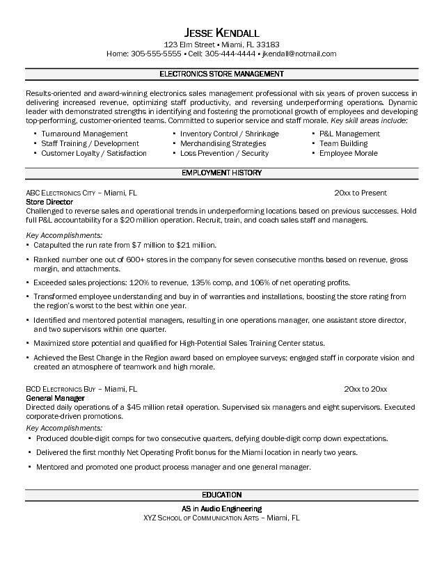 sample resume retail sales retail management resume retail ...
