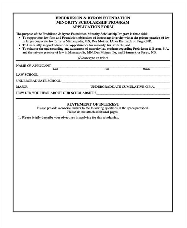9+ Sample Scholarship Application Forms - Free Sample, Example, Format