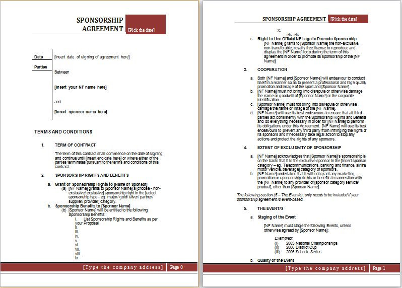Sponsorship Agreement Template MS Word   Word Document Templates